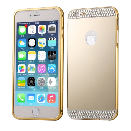 Buy Diamond Encrusted Push-pull Style Metal Plating Bumper Frame + Acrylic Back Cover Combination Case for iPhone 6 & 6s, Gold for $2.76 in SUNSKY store