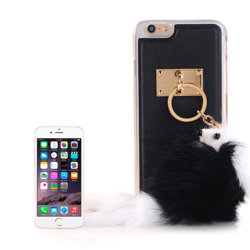 Buy PU Paste Skin TPU Protective Case with Fox Pendant for iPhone 6 & 6s, Black for $2.22 in SUNSKY store