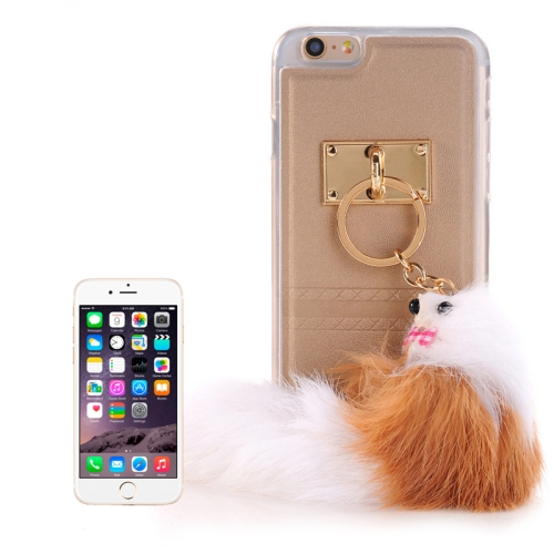 Buy PU Paste Skin TPU Protective Case with Fox Pendant for iPhone 6 & 6s, Gold for $2.22 in SUNSKY store