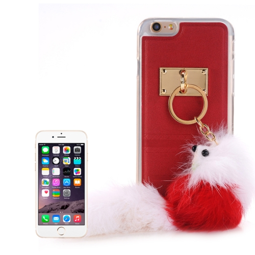 Buy PU Paste Skin TPU Protective Case with Fox Pendant for iPhone 6 & 6s, Red for $2.22 in SUNSKY store
