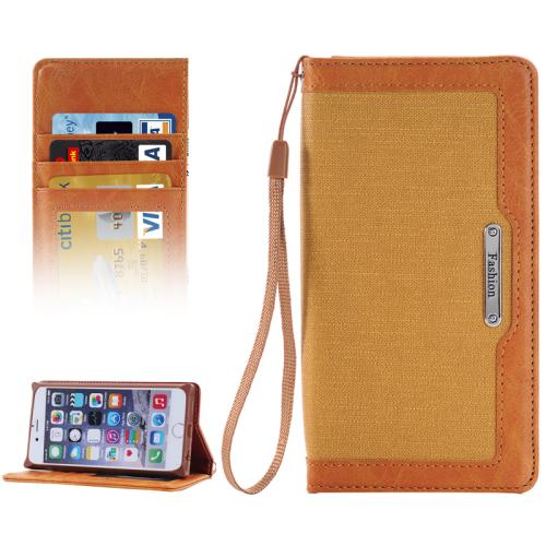 Buy Denim Texture Magnetic Horizontal Flip Leather Case with Holder & Card Slots & Wallet & Lanyard for iPhone 6 & 6s (Light Brown) for $2.68 in SUNSKY store