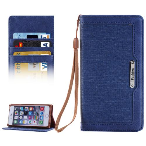 Buy Denim Texture Magnetic Horizontal Flip Leather Case with Holder & Card Slots & Wallet & Lanyard for iPhone 6 & 6s (Dark Blue) for $2.68 in SUNSKY store