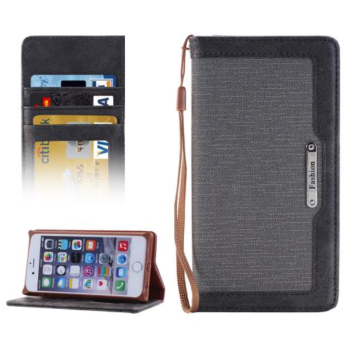 Buy Denim Texture Magnetic Horizontal Flip Leather Case with Holder & Card Slots & Wallet & Lanyard for iPhone 6 & 6s, Grey for $2.68 in SUNSKY store