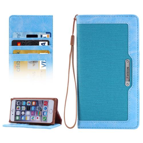 Buy Denim Texture Magnetic Horizontal Flip Leather Case with Holder & Card Slots & Wallet & Lanyard for iPhone 6 & 6s, Blue for $2.68 in SUNSKY store
