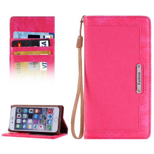 Buy Denim Texture Magnetic Horizontal Flip Leather Case with Holder & Card Slots & Wallet & Lanyard for iPhone 6 & 6s, Magenta for $2.68 in SUNSKY store