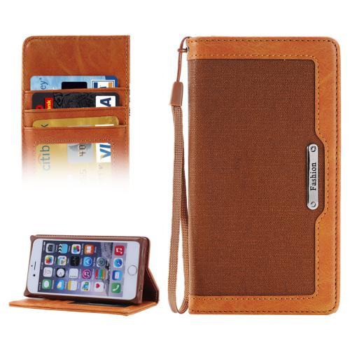 Buy Denim Texture Magnetic Horizontal Flip Leather Case with Holder & Card Slots & Wallet & Lanyard for iPhone 6 & 6s (Dark Brown) for $2.68 in SUNSKY store
