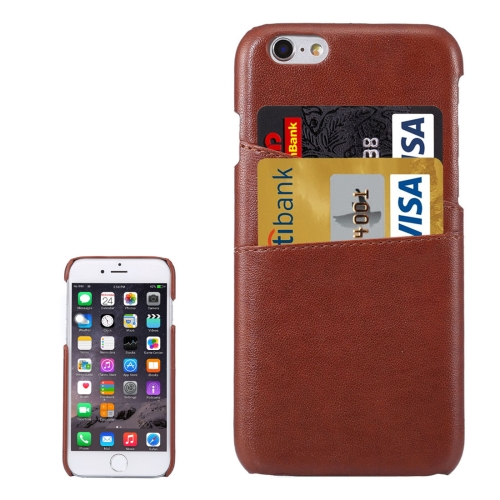 Lambskin Texture Leather Back Cover with Card Slots for iPhone 6s, Brown