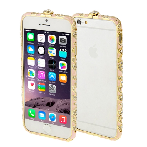 Buy For iPhone 6 Encrusted Diamond Metal Bumper Frame Case, Pink for $1.28 in SUNSKY store