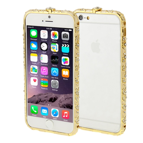 Buy For iPhone 6 Encrusted Diamond Metal Bumper Frame Case, Gold for $1.28 in SUNSKY store