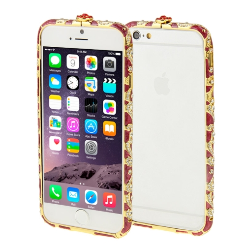 Buy For iPhone 6 Encrusted Diamond Metal Bumper Frame Case, Magenta for $1.28 in SUNSKY store