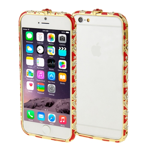 Buy For iPhone 6 Encrusted Diamond Metal Bumper Frame Case, Red for $1.28 in SUNSKY store