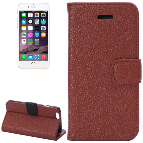 Buy Litchi Texture Leather Case with Card Slots and Holder for iPhone 6 Plus & 6S Plus, Brown for $2.26 in SUNSKY store