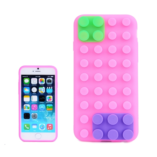 Buy Building Block Texture Silicone case for iPhone 6 Plus, Magenta for $1.37 in SUNSKY store