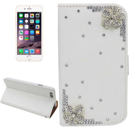 Buy Litchi Texture Flower Pattern Diamond Encrusted Leather Case with Holder and Card Slots for iPhone 6 Plus for $3.24 in SUNSKY store