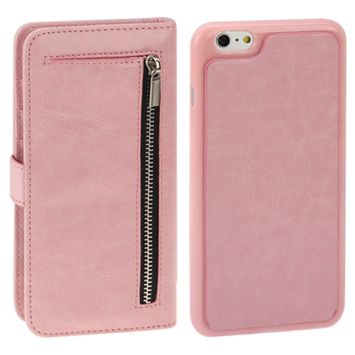 2 in 1 Separable Crazy Horse Texture Wallet Style Flip Leather Case for iPhone 6 Plus & 6S Plus, Pink