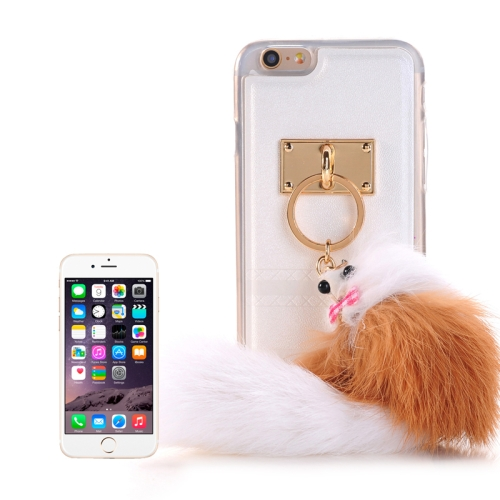 PU Paste Skin TPU Protective Case with Fox Pendant for iPhone 6 Plus & 6s Plus, White