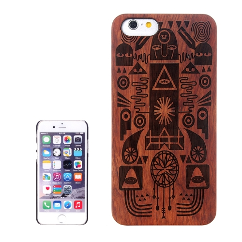 Buy Cartoon Carved Pattern & Rosewood Patch Protective Case for iPhone 6 Plus & 6S Plus for $5.88 in SUNSKY store