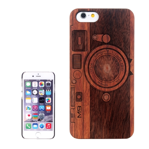 Camera Carved Pattern & Rosewood Patch Protective Case for iPhone 6 Plus & 6S Plus