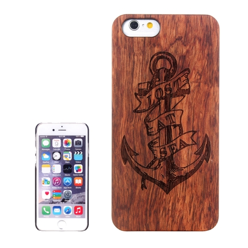 Buy Anchor Carved Pattern & Rosewood Patch Protective Case for iPhone 6 Plus & 6S Plus for $5.60 in SUNSKY store