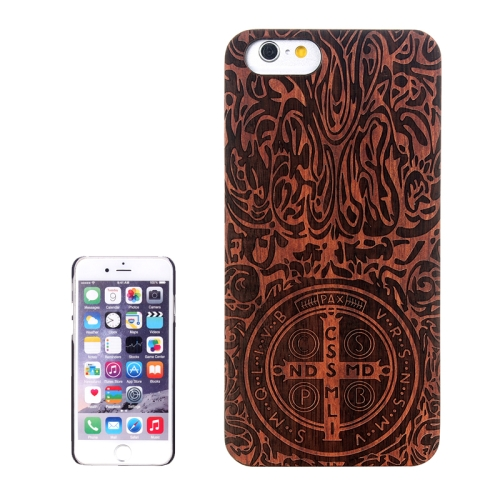Buy Cross Carved Pattern & Rosewood Patch Protective Case for iPhone 6 Plus & 6S Plus for $5.88 in SUNSKY store