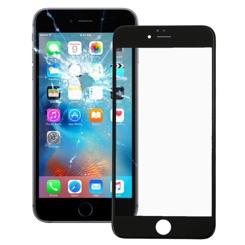 Front Screen Outer Glass Lens with Front LCD Screen Bezel Frame for iPhone 6s(Black)