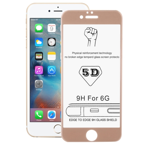 Buy 0.26mm 9H Surface Hardness 3D Explosion-proof Tempered Glass Screen Film for iPhone 6 & 6s, Gold for $2.89 in SUNSKY store
