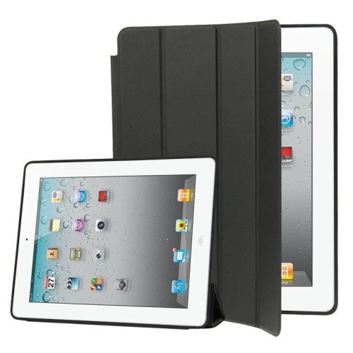 4-folding Slim Smart Cover Leather Case with Holder & Sleep / Wake-up Function for iPad 4 / New iPad (iPad 3) / iPad 2(Black) фото