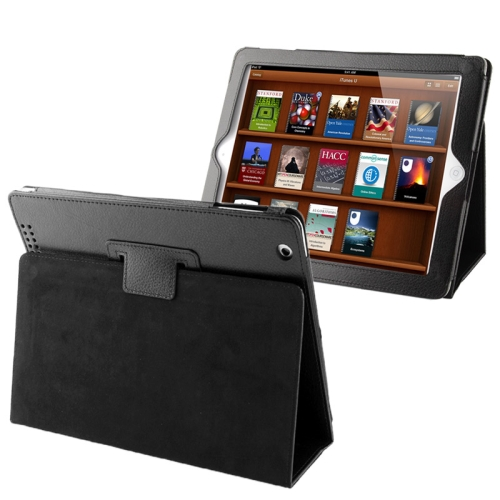 High Quality Litchi Texture Folding Leather with Sleep / Wake-up & Holder Function for iPad 2 / iPad 3 / iPad 4 (Black) compact folding stand holder support for iphone 3g 4 ipad 2 touch 4 white