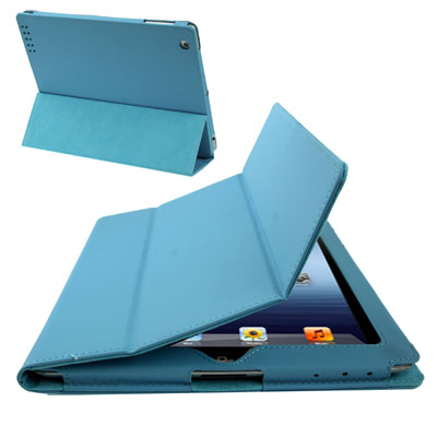 Buy 3-fold Sleep / Wake-up Function Leather Case with Holder for iPad 4 / New iPad (iPad 3) / iPad 2, Blue for $3.51 in SUNSKY store