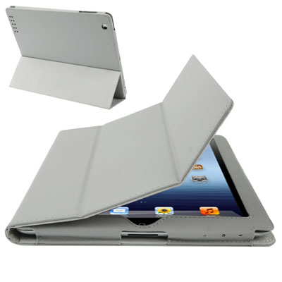 Buy 3-fold Sleep / Wake-up Function Leather Case with Holder for iPad 4 / New iPad (iPad 3) / iPad 2, Grey for $3.51 in SUNSKY store