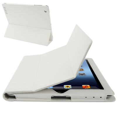 Buy 3-fold Sleep / Wake-up Function Leather Case with Holder for iPad 4 / New iPad (iPad 3) / iPad 2, White for $3.54 in SUNSKY store