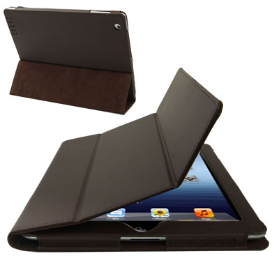 Buy 3-fold Sleep / Wake-up Function Leather Case with Holder for iPad 4 / New iPad (iPad 3) / iPad 2, Brown for $3.54 in SUNSKY store