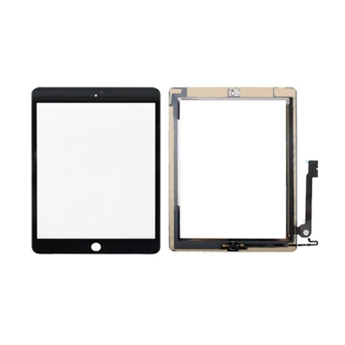 Controller Button + Home Key Button PCB Membrane Flex Cable + Touch Panel Installation Adhesive Replacement Touch Panel for iPad 4(Black)