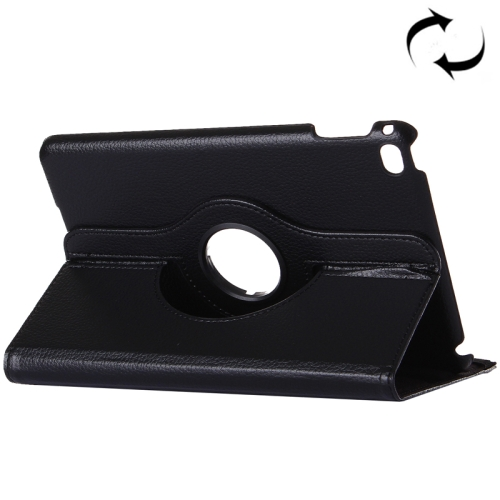 Litchi Texture 360 Degrees Rotating Horizontal Flip Solid Color Leather Case with Holder and Intelligent Sleep / Wake-up Function for iPad Pro 12.9 inch(Black)