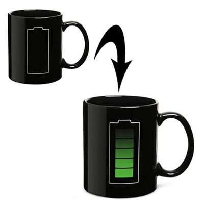 Heat Sensitive Battery Color Changing Porcelain Cup Coffee Mug with Handle(Black)