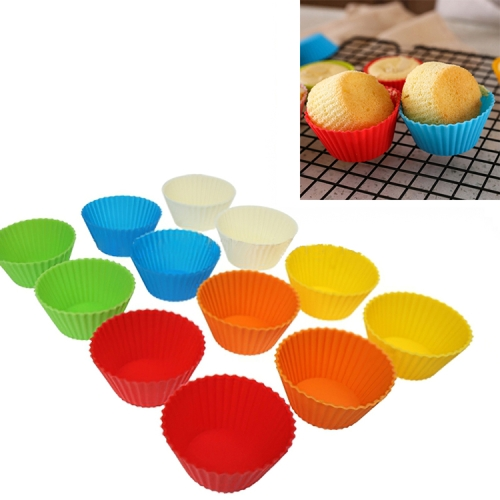 Buy 12 pcs Soft Silicone Round Cake Cup Muffin Cases Chocolate Cupcake Liner Baking Cup for $2.55 in SUNSKY store