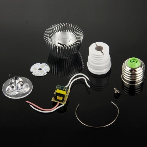 Buy E27 3W DIY Aluminum 3 LED Spotlight Lamp Shell Kit (Aluminum Shell + Aluminum Base Plate + E27 Base + LED Lens + LED Driver) for $1.42 in SUNSKY store