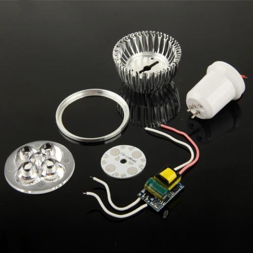 Buy GU5.3 4W DIY Aluminum 4 LED Spotlight Lamp Shell Kit (Aluminum Shell + Aluminum Base Plate + GU5.3 Base + LED Lens + LED Driver) for $1.42 in SUNSKY store