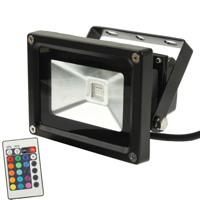 Buy High Power 10W Waterproof RGB LED Floodlight Lamp with Remote Controller, AC 85-265V, Luminous Flux: 800-900lm, Black for $7.07 in SUNSKY store