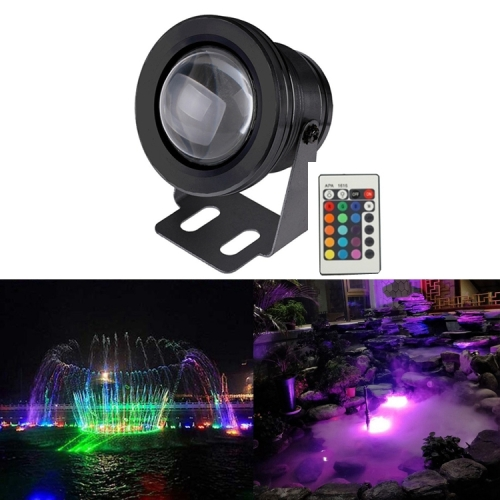 10W RGB LED Underwater Light with Remote Control, DC 12V, Luminous Flux: 800-900lm, Black