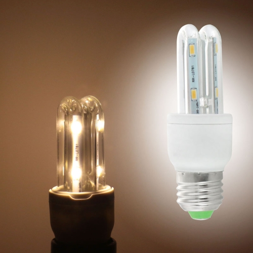 Buy E27 2U Shade Transparent Cover 3W Warm White 180LM 8 LED SMD 5730 Corn Light Bulb, AC 90-265V for $2.55 in SUNSKY store
