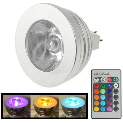 MR16 5W RGB LED Light Bulb , Luminous Flux: 400-450LM, with Remote Controller, DC 12V