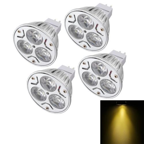 Buy 4 PCS YouOKLight MR16 3W 300LM Warm White Light Dimmable 3 LED Spotlight Bulb, DC 12V for $8.86 in SUNSKY store