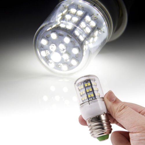 Buy E27 3528 SMD 6.0W AC 220V 540LM LED Corn Light Lamp with Transparent Cover (White Light 60 LEDs) for $1.74 in SUNSKY store