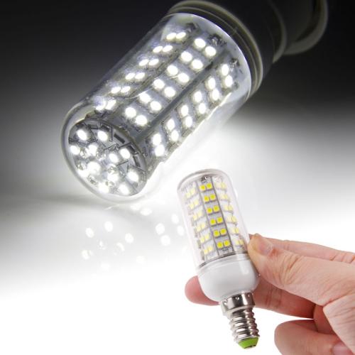 Buy E14 3528 SMD 8.0W AC 220V 660LM LED Corn Light Lamp with Transparent Cover (White Light 108 LEDs) for $2.43 in SUNSKY store