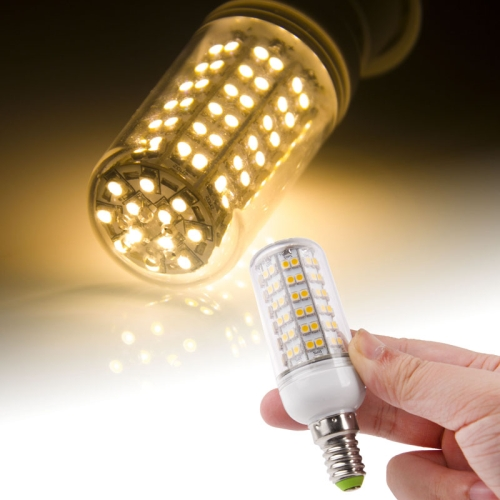 Buy E14 3528 SMD 8.0W AC 220V 660LM LED Corn Light Lamp with Transparent Cover (Warm White Light 108 LEDs) for $2.43 in SUNSKY store