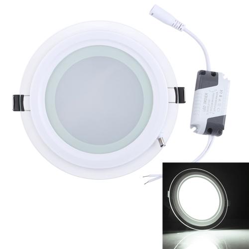 12W 16cm Round Glass Panel Light Lamp with LED Driver, Luminous Flux: 960LM, AC 85-265V, Cutout Size: 12.5cm