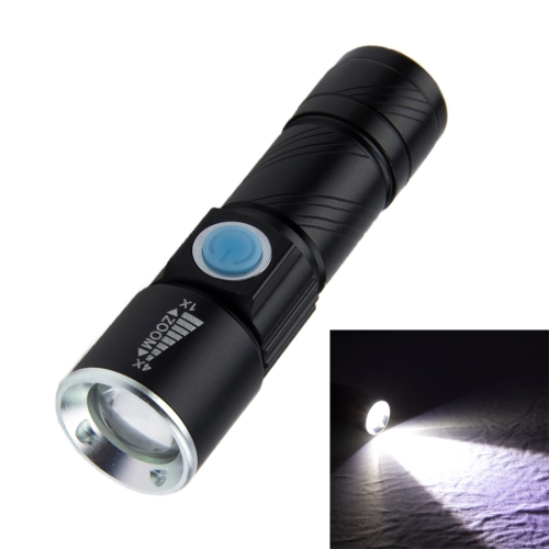 White Light Retractable Flashlight, Cree Q5 LED 3-Mode with Lanyard(Black)