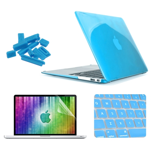 """+Key +LCD 4in1 Hot BLUE Crystal Case for Macbook Air 11/"""" Bag A1370 and A1465"""