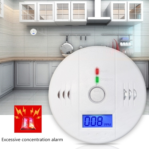 Gas Carbon Monoxide Detector Sensor Unit LCD CO Safety Alarm Tester(White)